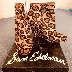 Sam Edelman Leopard Wedge Booties